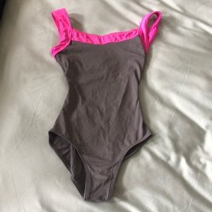 Grey and pink leotard, size P